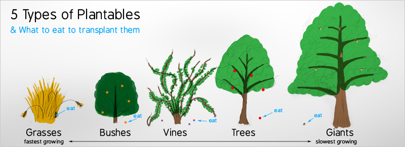 Idea for a non violent open world game called rabbit for Different types of plants and trees
